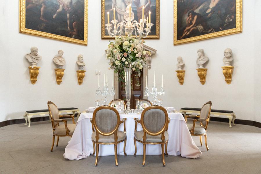 Chiswick House wedding reception set up