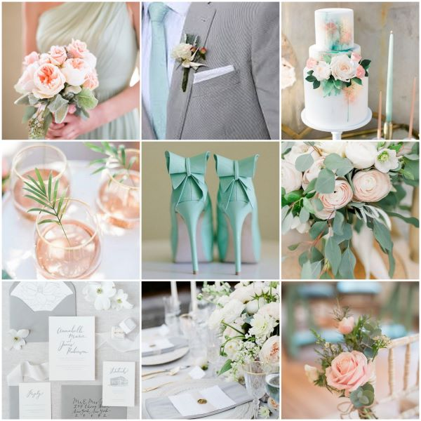 Inspiration board using mint green and grey with tones of blush and peach.  The board features bridal bouquets, textured wedding cake, mint green bridal shoes and a wedding table filled with flowers and candles