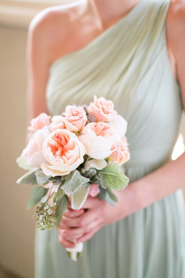 Mint green grecian bridesmaid dress with blush pink peony and rose bouquet