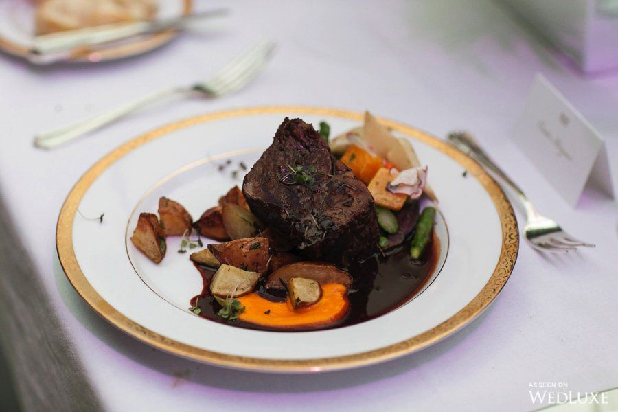Winter wedding meal of meat and vegetables
