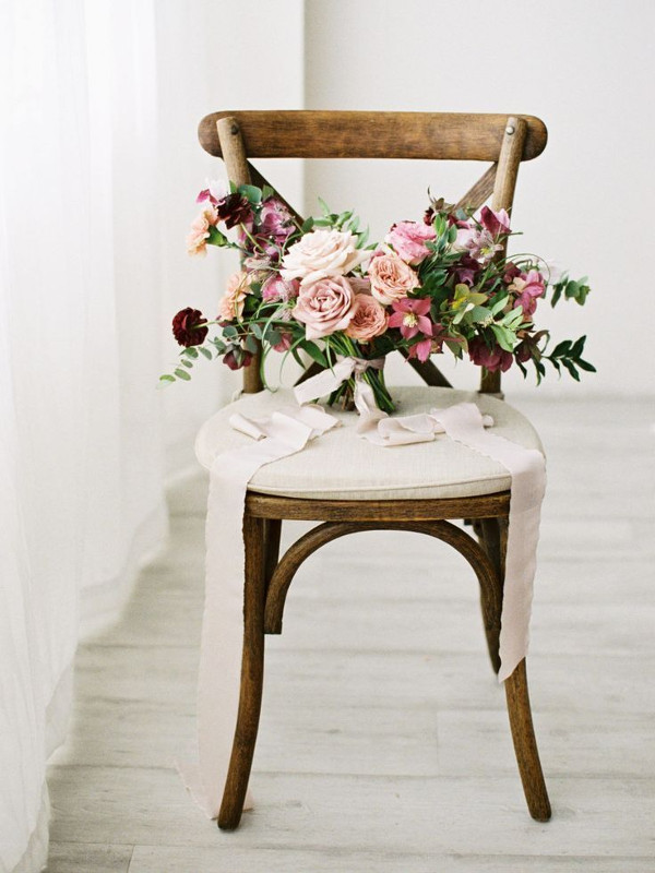 Bride bouquet with blush and burgundy flowers