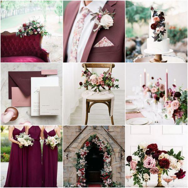 Wedding inspiration board using burgundy, blush and neutral tones
