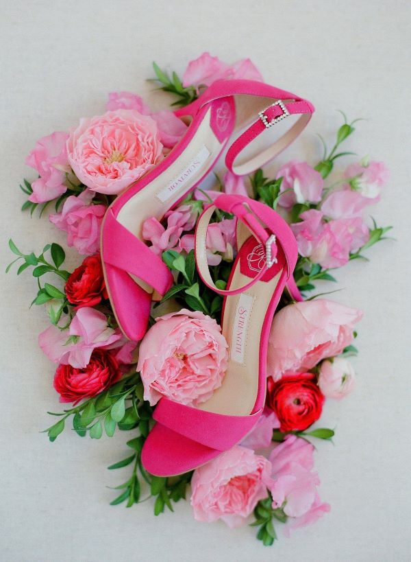 pink wedding shoes with sparkle buckle