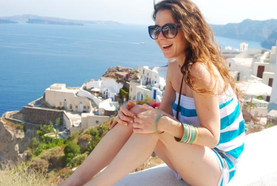 Enjoying the sights in Oia Santorini Greece