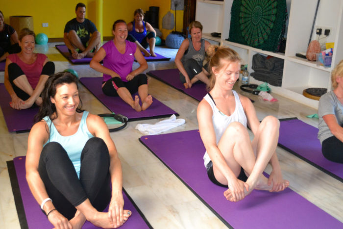 Sky Pilates class with Alex Estornel in Gran Canaria Spain