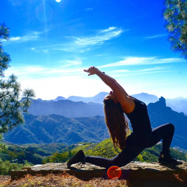 Paola Reznik yoga pose Gran Canaria