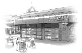 I don't know who created this lovely drawing of Book Passage in Marin County. But I'd love to give him/her credit.