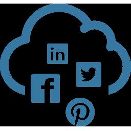 social media in a cloud shape