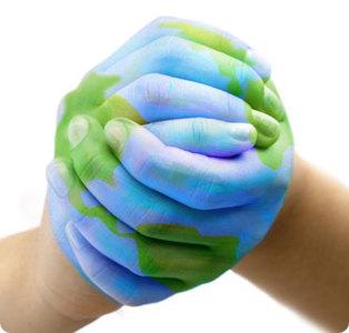 kids hands making a globe