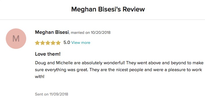 WeddingWire Review Meghan & Kevin 2018