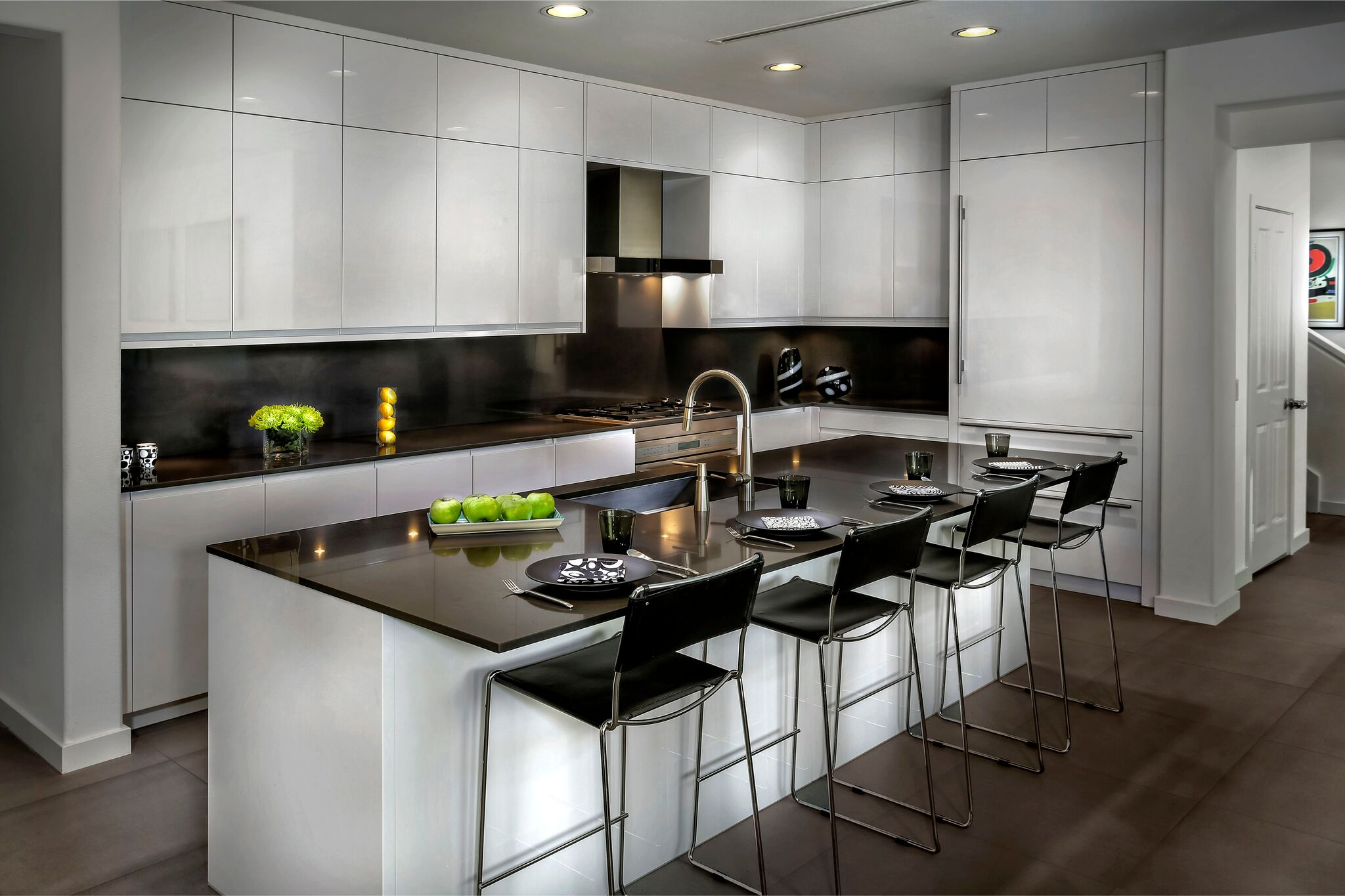 Laguna Beach Contemporary kitchen in high gloss lacquer