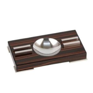 Cigar Ashtray Makassar Finish, Feet Chrome, 2 Rests