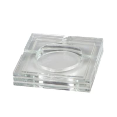 Cigar ashtray glass squared 4 rests