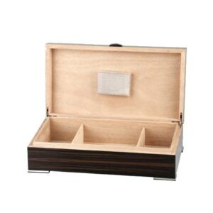 Humidor Makassar Finish, Chrome Feet + Handle, f.ca.50 cigar