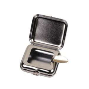 Pocket ashtray square shape chrome matt