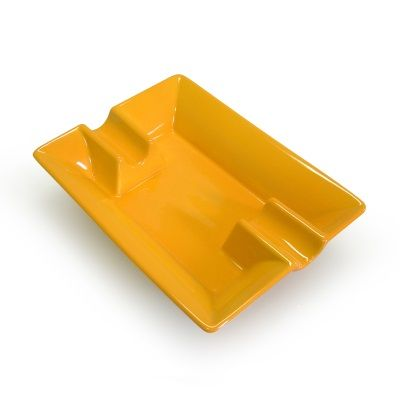 Ceramic 2 Rest Cigar Ashtray - Yellow