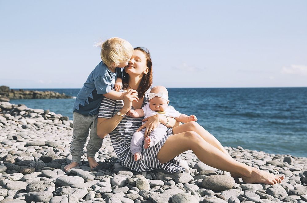 happy single mother with childs