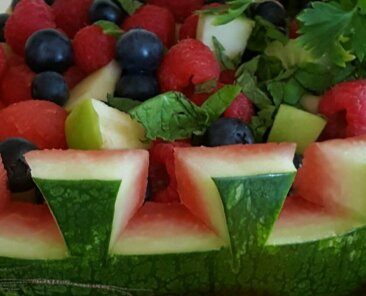 Watermelon 'Basket' of Fresh Fruit Salad