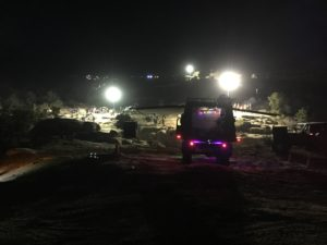 At Area BFE for night wheeling during Jeep Safari