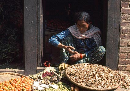 Nepalese woman at street market vending her abundant and nutritious farm produce