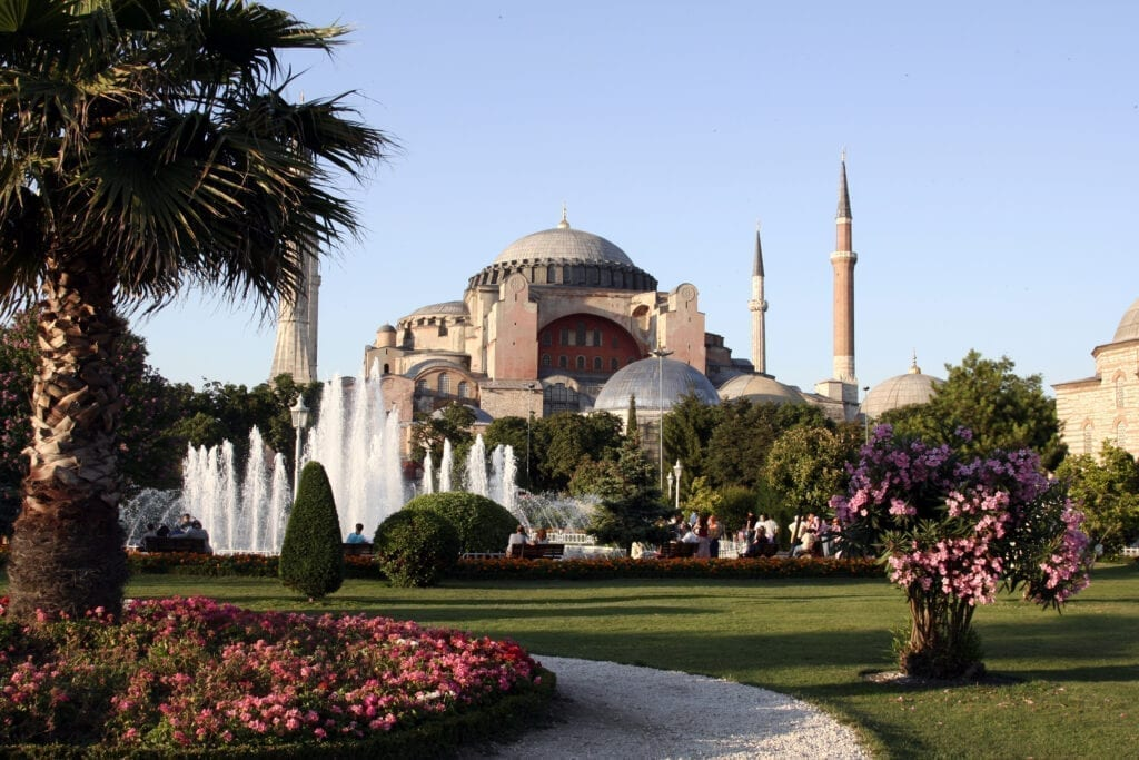 Beautiful park with Hagia Sofia background