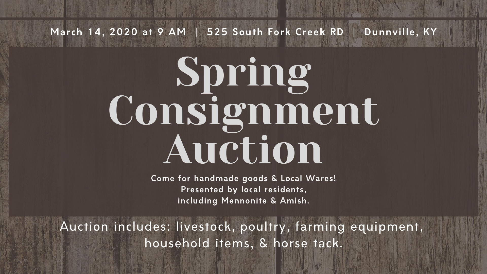 Amish Spring Consignment Auction South Fork Creek Rd