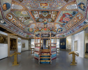 Reconstructed vault and bimah in the Museum of the History of Polish Jews