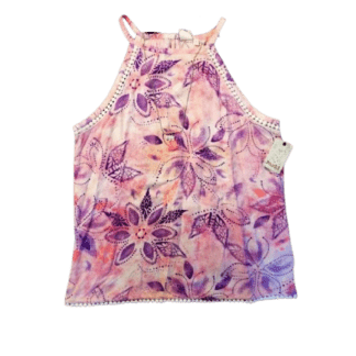 Mudd Girls Floral Top w/ Necklace (Size 16)