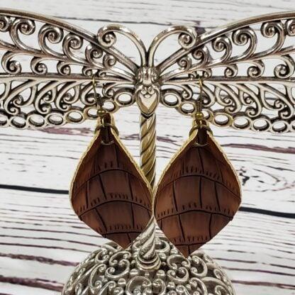 Faux Leather Embossed Leaf Earrings