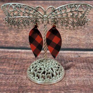 .Faux Leather Buffalo Plaid Leaf Earrings