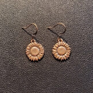 Copper-Plated Pewter Sunflower Earrings
