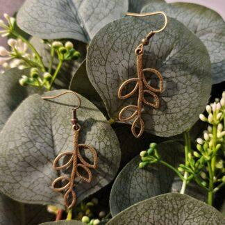 Antique Bronze Tone Leaf Earrings