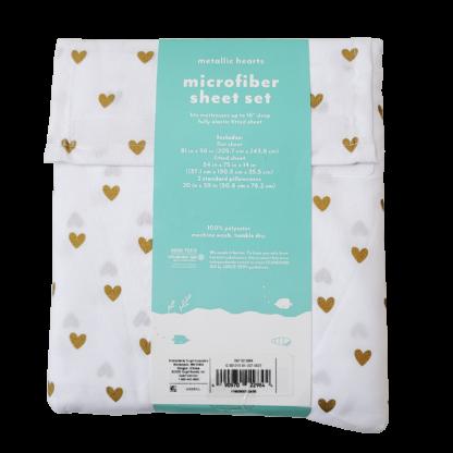 Pillowfort Full Sheet Set - Metallic Hearts