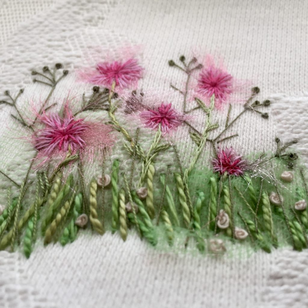 Hand embroidered Pink Wild Flowers www.kateskloths.co.uk