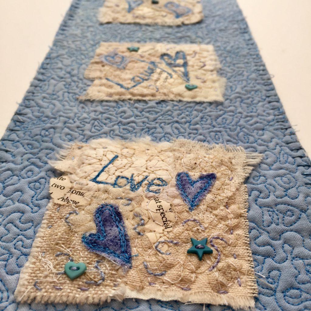 Close up - Live, Laugh Love Miniature Quilt www.kateskloths.co.uk
