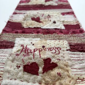 Close up - Love, Life, Happiness Miniature Quilt www.kateskloths.co.uk