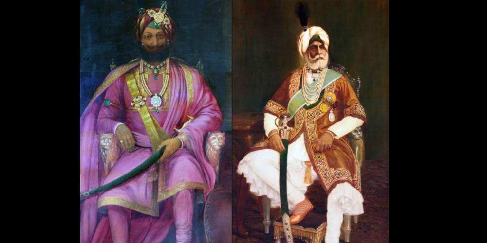 The founder of the princely state of Jammu and Kashmir, Raja Gulab Singh (left); and his son and heir Maharaja Ranbir Singh. (Shiv Kunal Verma/KaleidoIndia)