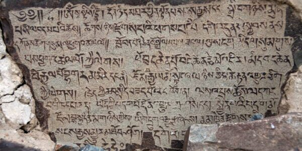 A royal inscription engraved on stone at Hunder in the Shyok Valley, mentioning King Bhagaram Mir. (Shiv Kunal Verma/KaleidoIndia)