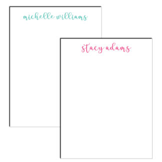 personalized notepad cursive