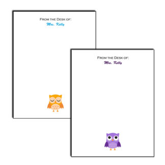 personalized notepad with owl