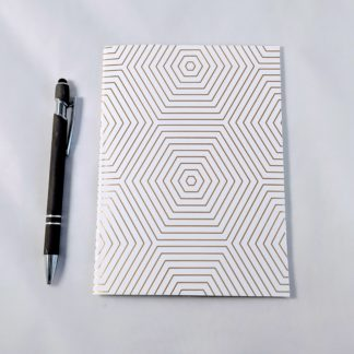 gold foil hexagon pattern notebook