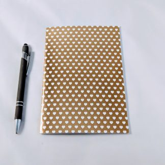 gold foil heart patterned notebook