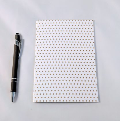 gold foil dot pattern notebook