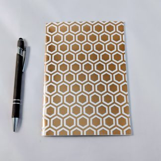 Gold Foil Hexagon Honeycomb notebook