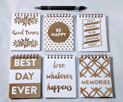 Mini Gold Foil Memo Notebooks with Positive Sayings