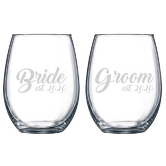 Bride Groom Stemless Wine Glass Set