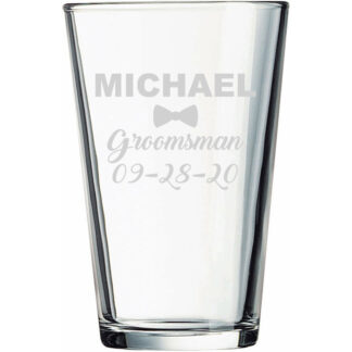 Personalized groomsman pint glass