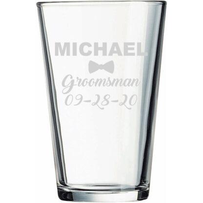 Personalized groomsman pint glass