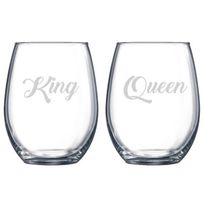 King Queen Stemless Wine Glasses