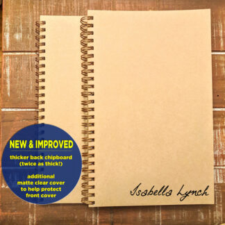 personalized notebook sketchbook in cursive handwriting font